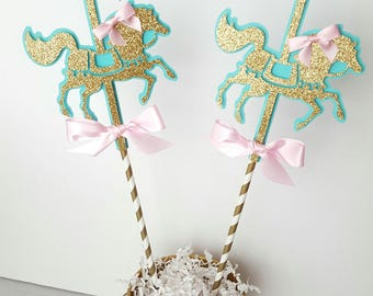 Carousel Horse Centerpiece-Pink Gold Baby Shower Carousel Centerpiece-Carousel Birthday-Baby shower centerpiece-Carousel Theme Horse-Horse