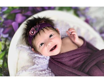 Plum purple newborn wraps OLIVIA,stretch knit,super soft,extra long,baby blankets,basket stuffers,photography props