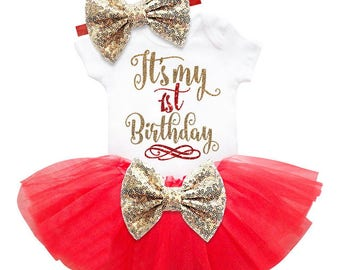 Newborn Baby Girls Clothes, 1st Birthday Baby Bodysuit Romper, Tutu Skirt Outfits, First Birthday Outfit Girl