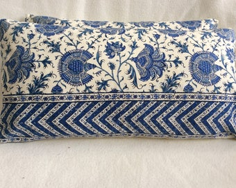 "Jacobean Designer Lumbar Pillow Cover Set - Braunschwig & Fils ""Ceylon"" Fabric - French Cotton - Blue/ Cream - 2pc Set - 12x20 Covers"