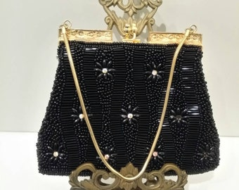 Vintage Black Beeded Evening Bag with Gold Chain Handle