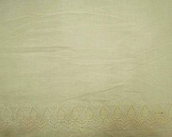 """Beige Fabric, Embroidery Fabric, Indian Decor, Apparel Fabric, Sewing Accessories, 46"""" Inch Cotton Fabric By The Yard ZBC7760A"""
