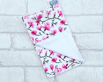 Burp Cloth // Baby burp cloth with pink and white magnolia flowers from newborn