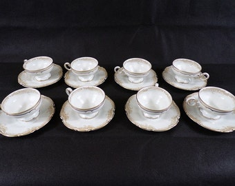 8 cups vintage shabby chic lorenz Hutschen Reuther made in Germany model Sylvia Bavaria porcelain fine service at cafe Mocha