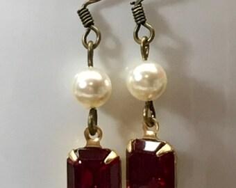 Ruby Red Swarovski Crystal and Pearl Earrings