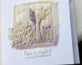 mini textile card, love stitches card, embroidered card, flowers and lace, stitched card, lace and stitch card, textile art card