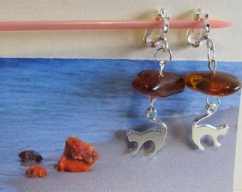 Cat Amber Antique Earrings 5.5 gr. brown transparent beads Natural Baltic silver color clip on clasp, clips and cat figure chandelier