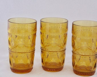 SALE! Gorgeous Vintage Amber Glass Water Tumblers with Circle/ZigZag Pattern, Set of 3