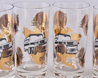 Vintage Trucker Gold Leaf Glasses, Set of 6