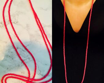 Hot Pink Beaded Double Wrap Necklace