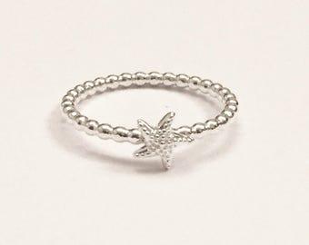 Starfish ring, stacking ring, beach ring, silver ring, modern stacker ring, summer novelty ring, starfish jewelry, ocean jewelry