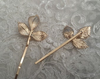 Set of 2  - Gold Leaf Boho Style Hair Pins