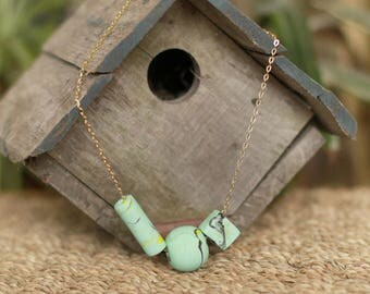 Polymer clay, Necklace, Turquoise, 22 inch, ClaySong