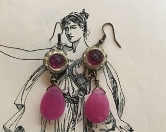 Fuschia memories: vintage assemblage earrings, repurposed jewelry, fuschia earrings
