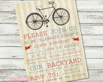 Summer Vintage Bicycle Birthday Invitation - Change the wording for any age!