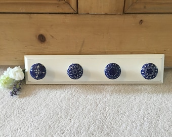 Wall Coat Rack With Ceramic White & Blue Hooks