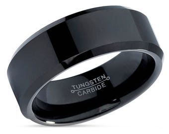 Black Tungsten Wedding Band,Tungsten Wedding Ring,Black Tungsten Ring,Beveled Edges,High Polish,Comfort Fit,8mm Engagement Ring,Anniversary