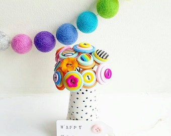 little rainbow button bouquet