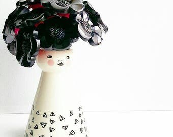 """Felicity"" Black daisy button bouquet with fierce lady vase"