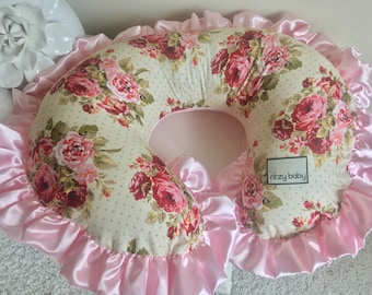 In Stock and Ready to Ship Rambling Roses Nursing Pillow Cover, Pink Boppy Cover, Nursing Pillow Cover, Boppy Cover, Baby Shower Gift