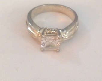 Sterling silver cz ring size 8