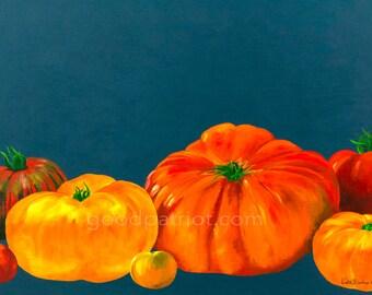 Art Print - Tomato Painting - Kitchen Art - Heirloom Tomatoes - Wall Art - Restaurant Decor - Garden - Homesteading - Colorful Artwork