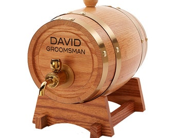Groomsmen Gift, Whiskey Barrel, Wine Barrel, Beer Keg, Best Man Gift, 1.5 L Personalized Oak Barrel