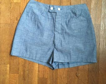 vintage wrangler chambray high waist junior shorts made in usa w25