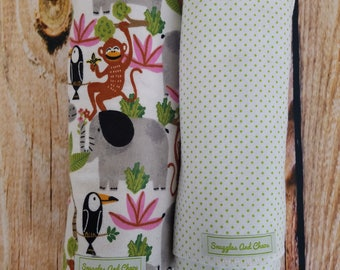 Jungle Animal Baby Boy Swaddle/Receiving blanket set
