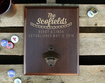 Personalized Wood Sign Bottle Opener, Wall Mounted Bottle Opener, Beer Bottle Opener, Custom Bar Sign, Family Name --PBB-CHR-Scofields