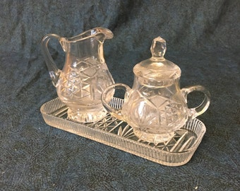 Vintage Imperlux Handcut Lead Crystal Sugar Bowl and Creamer with Tray