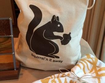 Squirrel canvas tote bag - squirrel bag - sturdy canvas shopping bag - tote - market bag - original design