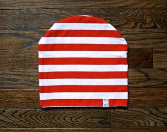 The Nicholas Beanie, Valentine Beanie, Baby Beanie, Toddler Beanie, Red and White Striped Beanie, Mom and Dad Matching Beanie