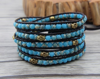 Ocean Blue Jasper Bracelet skull bead bracelet skull leather bracelet boho wrap bracelet yoga bracelet bead wrap bracelet Jewelry SL-0485