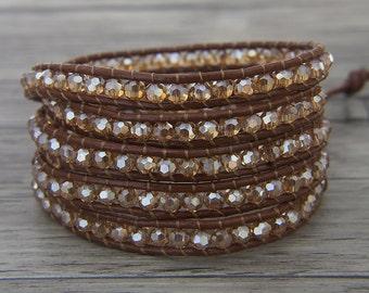 boho crystal Leather wrap Bracelet Gold Glass Bead Bracelet 5 rows Wrapped beaded Bracelet Gypsy Beaded Bracelet BOHO Jewelry SL-0450