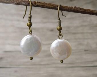 Fresh water pearl earrings Real pearl earrings bead earrings Boho Drop Earrings Elegant Dangle Earrings Chic Earrings Pearl Jewelry ED-014