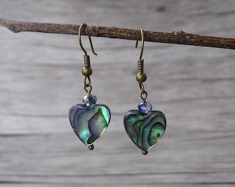 Abalone Earrings Heart Earrings Natural Abalone Shell Earrings bead drop earrings BOHO Dangle Earrings Shell bead Earrings Abalone ED-015