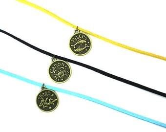 Zodiac Chokers in 3 Colors, Aqua, Goldenrod and Black, Reversible and Gift-Wrapped!