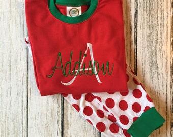 Christmas Pajamas, boys, boys monogrammed, applique, girls, christmas, pajamas, pjs, childrens
