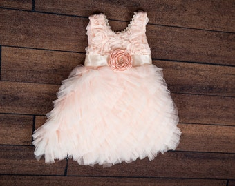 Blush Pink Flower Girl Dress, Blush Tulle Wedding dress, Elegant Wedding, Tutu Dress, Boho Chic, Country, Couture Style, Rosette Detail Prop
