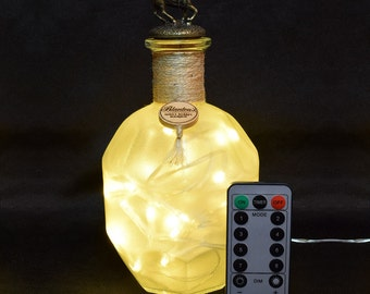 Blantons Bourbon Whiskey Whisky Frosted Upcycled LED Bottle Lamp with Remote Control by JayEngrave
