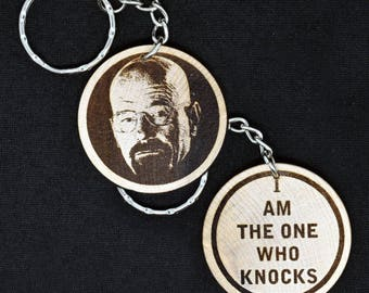 Heisenberg aka Walter White - Breaking Bad - Engraved Wood Keyring Keychain by JayEngrave