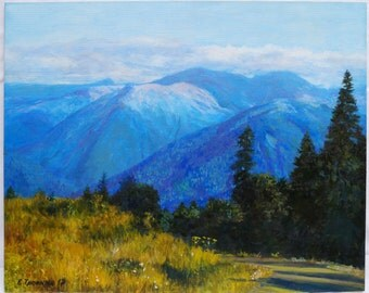 Original oil painting oil painting painting for sale original painting fine art mountain decor oil on canvas handmade art landscape blue