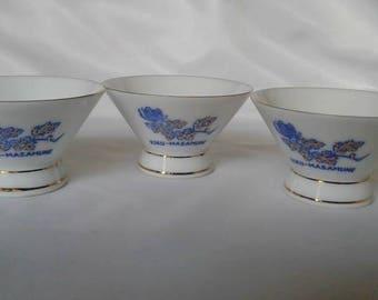 Vintage Kiku-Masamune Saki Cups, set of 3, 1970s, Made in Japan