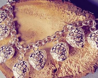 Elegant Real Silver Heart Charm Bracelet