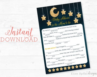 Twinkle Twinkle Little Star Baby Shower Mab Libs, Baby shower Advice, Twinkle Twinkle baby shower games, baby shower game