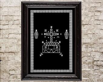 Baron Samedi veve, Voodoo, Hoodoo, altar, ritual, spirit, Eshu, Loa, Vodun, Vodoun, skeleton, Voodoo art, talisman, amulet, Voodoo print,183