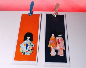 Origami Bookmark, segnalibro in origami con kokeshi, bamboline giapponesi