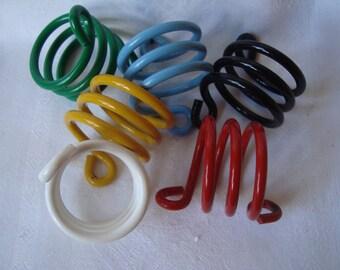 6 NAPKIN RINGS HOLDERS Metal Design Italy Modernist 80's Vintage Retro