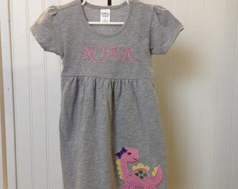 Dino Dress,Birthday Dress,Girl Dinosaur Dress,Party Dress